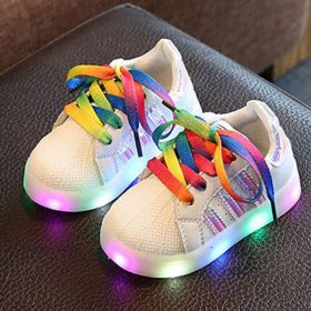 SEPATU ANAK LAMPU LED RAINBOW SHOES No 21-36 - Silver