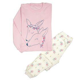 LONG SLEEVE SET 4T TO 10T - Pink Deer Flower