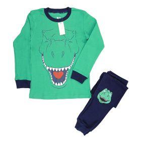 LONG SLEEVE SET 4T - 10T - Green T-Rex Head
