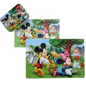 60pcs Wood Puzzle in a Tin - Mickey & Minnie