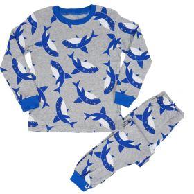 PIYAMA ANAK LENGAN PANJANG 4T - 10T - GREY BLUE SHARK