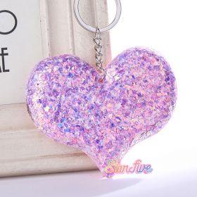 GANTUNGAN KUNCI GLITTER HEART HATI STARFIVE - PURPLE