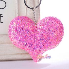 GANTUNGAN KUNCI GLITTER HEART HATI STARFIVE - PINK