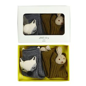 3D socks - Olive Bunny and Grey Fox