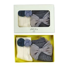 3D socks - Grey Bow & Pompom White