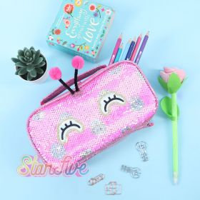 TEMPAT PENSIL JINJING CARRY ON SEQUIN KOTAK STARFIVE - BUTTERFLY FUCHSIA