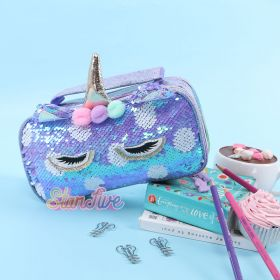 TEMPAT PENSIL JINJING CARRY ON SEQUIN KOTAK STARFIVE - UNICORN PURPLE