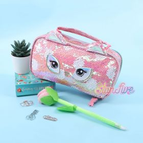 TEMPAT PENSIL JINJING CARRY ON SEQUIN KOTAK STARFIVE - OWL PINK