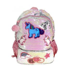 TAS RANSEL BACKPACK SEQUIN PAYET UNICORN - Silver White